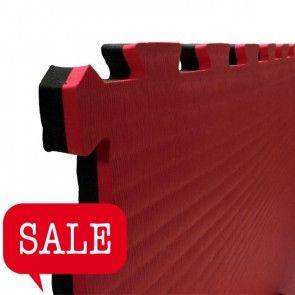 Puzzelmat 1 m² rood/zwart (2 cm)